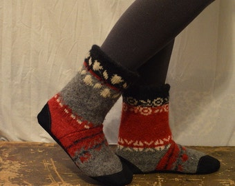 Women's 7 to 8 (EU 37.5 to 38.5) JACI Felted Wool Soccasins with Leather Soles, Toes and Heels