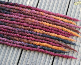 Rustic SE x14 Crochet Synthetic Dreads - Black red brown copper