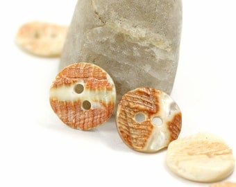 Orange Shell Buttons, Original Nature Texture Surface, 0.39 inch, 10 Pieces in a set.