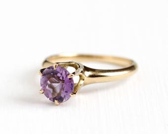 Vintage 14k Rosy Yellow Gold Amethyst Solitaire Ring - Size 5 1/2 Early 1900s Edwardian Round 1.30 CT Purple Gemstone Fine Jewelry