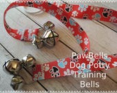 Paw Bells, Dog Potty Trainer, Red with Paw Prints, Instructions included