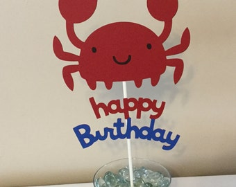Crab happy birthday Smash Cake topper under the sea red and blue