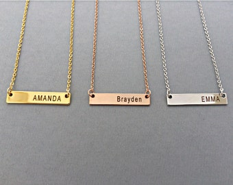 Name Necklace-Rose Gold Necklace-Personalized Gold Bar Necklace-Engraved Name-Personalized Necklace-Gift For Her-Valentines Gift
