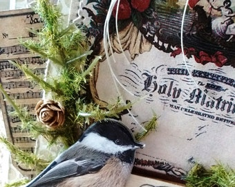 Chickadee Winter Wedding Congrats - ART CARD - Shabby Naturalist Style