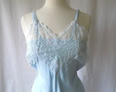 RESERVED 1940s Acetate Rayon Slip in Blue