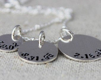 custom stamped dates necklace, sterling silver stamped discs, gift for mom, push present, gift for her, birthdate jewelry, personalized gift