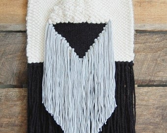 Black White Gray Woven Wall Hanging / Tapestry Weaving