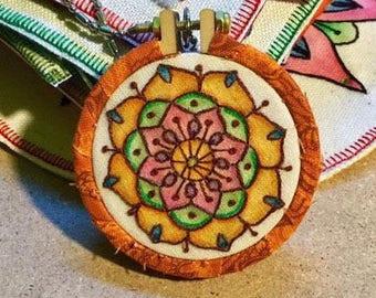 Little Orange Mandala Hand Embroidered Mini Hoop Art
