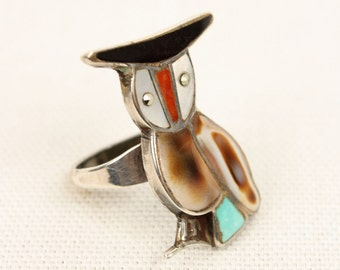 vintage OWL ring • zuni inlaid turquoise and shell sterling jewlery