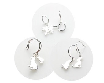 Asymmetrical Sterling Silver Dangle Earrings Cat + Dog Cat + Kitten Horse + Horseshoe for Women Animal Lovers ONE Pair