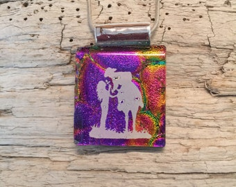 dichroic glass jewelry,cowboy pendant,fused glass, Dichroic Glass Pendant, Fused Glass Jewelry, Fused Dichroic Necklace, glass jewelry