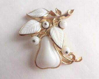 1950s Milk Glass Pear Pin by Trifari