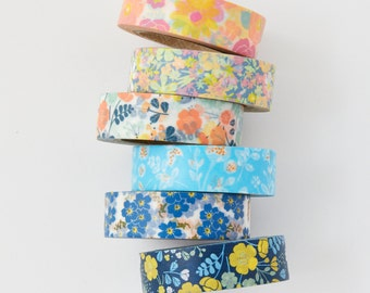 Spring Floral Set - 6 Whole Washi Tapes - erin condren - planner - Love My Tapes