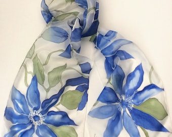 Blue Clematis hand painted silk scarf.  Spring flower Silk scarves. Hand painted silk scarf.