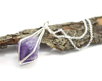 Amethyst Crystal Point Necklace in Sterling Silver - Gemstone Cage Necklace - Choose Your Finish - D