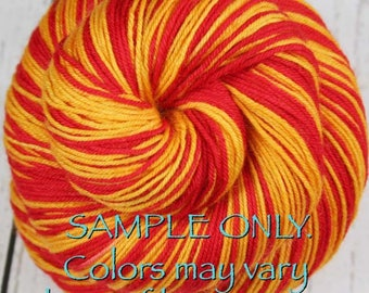 """Dyed to Order: Self-striping Sock Yarn - """"CARDINAL RED-GOLD"""" - Sports inspired - Hand dyed - Sports Team / School colors yarn Los Angeles Ca"""