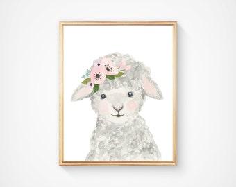 Watercolor lamb, Woodland nursery, Animal Paintings, lamb, watercolor animal, nursery prints, farm animals