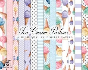 Ice cream digital paper - Digital download - Summer paper - Digital scrapbook paper - Commercial use digital paper - Watercolor digital