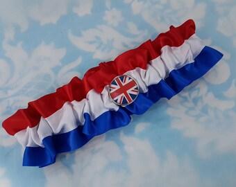 Union Jack Wedding garter - white and Union jack garter - red and blue garter - red white and blue wedding garter - UK flag garter -