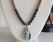CRAZY SALE:  Ashira Champagne Mother of Pearls with Ocean Jasper Druzy GeodeAgate Pendant