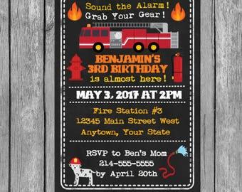 firefighter invitation, firefighter birthday invitations, firefighters, printable invitation, firefighter party invitations,