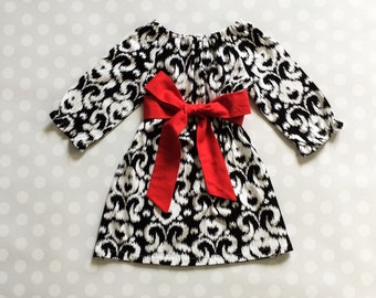 Black Ikat Dress - Girls Dresses - Red and Black Dress - Girls Dress - Dresses for Girls - Valentine's Dress - Valentines Day Outfit