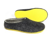 Womens Felted Slippers Black Grey, Color Rubber Soles, Shoes for Outdoors,  Organic House Shoes, Minimalist shoes, Gifts for Her