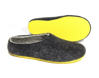 Felted natural slippers Grey - Women house Boiled Wool shoes Mens, Custom 6 Color Rubber soles Indoor Outdoor, The Best Seller Sizes US 4-15