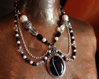 Black Agate chainmail and beaded necklace