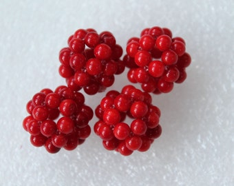 Red Coral Round Ball Cluster Beads 16mm - 2/4/8 Pcs