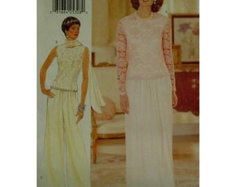 Wide Leg Pants Pattern, Lace Top, Evening Wear, Wedding Ensemble, Sleeveless/Long Sleeves, Plus Size, Butterick No. 4936 UNCUT Size 18 20 22
