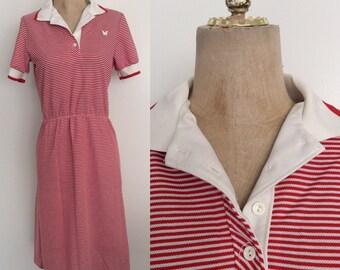 1970's Red Striped Avon Shirtwaist Dress Size Small Medium by Maeberry Vintage