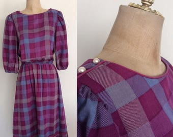 30% OFF 1970's Purple Plaid Cotton Poly Dress Size XS Small by Maeberry Vintage