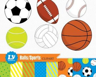 Sports Clipart - Sports Balls Download - Instant Download - Cute Baseballs, Footballs, Soccer Balls, and more!
