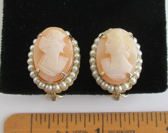 Carved Shell Cameo Earrings - Vintage Clip On - Gold Tone w/ Faux Pearl Border