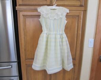 Vintage 1950's Blue Yellow White Nylon Organdy Dress--Ruffled Collar--Gathered Skirt-Older Girl--size 10??