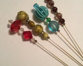 "Vintage Bead Hatpins 7 ""Victorian Style/Set of 4/Free Shipping"