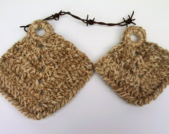 Pot Holders -  Hand Crochet  in Handspun Pure Australian Wool. Set of 2.