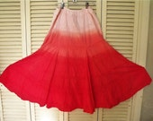 Ruffled, Tiered, Gauze Skirt/ Color Dipped Red Full Skirt/Ruby Red, NY, Cotton Gauze Swirly, Lined Cotton Skirt/ Shabbyfab Funwear