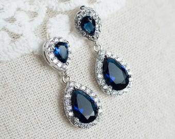 Sapphire Earrings, Blue Sapphire Bridal Earrings, Cubic Zirconia Ear Post and Blue Sapphire Teardrops, Bridesmaids Earrings, Bridal Earrings