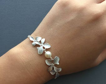 Elegant Silver Double Orchids and Pearl Bracelet- bridal jewelry, bridesmaids gifts.