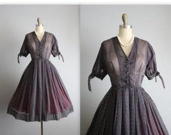 STOREWIDE SALE 50's Flocked Chiffon Dress // Vintage 1950's Navy Swiss Dot Flocked Chiffon Full New Look Shirtwaist Day Dress S