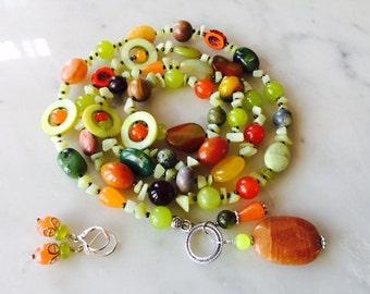 Long 39 inch, olive chunky pendant necklace earrings set, bold, multi stone, lariat, agate, jasper, handmade, multi-strand, beaded