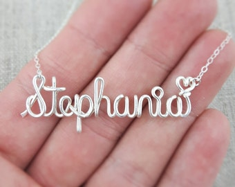 Silver Name Necklace, Custom Name Necklace, Personalized Silver Name Necklace, Bridesmaid Necklace, Personalized Name Jewelry Gifts Under 20