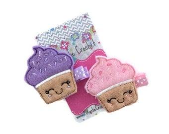 Cupcake hair clip, cupcake felt clip, cupcake hair bow, baby hair clip, toddler hair clip, hair accessory, baby accessory, baby barrettes