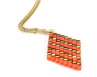 Orange & Bronze Diamond Necklace - in Stock!