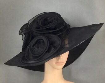 Black Wide Brim Funeral Hat, Kentucky Derby Hat,Church Hat