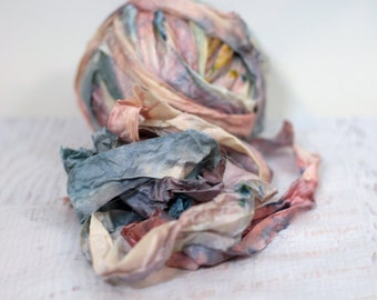 "Recycled Sari Ribbon ,by the yard, ""Speakeasy"" hand dyed chiffon ribbon, jewelry making, doll clothing, spinning supplies"