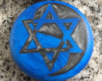 Star of David Yin Yang hand carved on a polymer clay Blue Pearl color background. Pendant comes with a FREE necklace