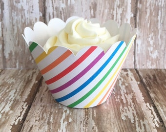 24 rainbow striped cupcake wrappers, primary color striped cupcake wrappers, custom rainbow wrappers